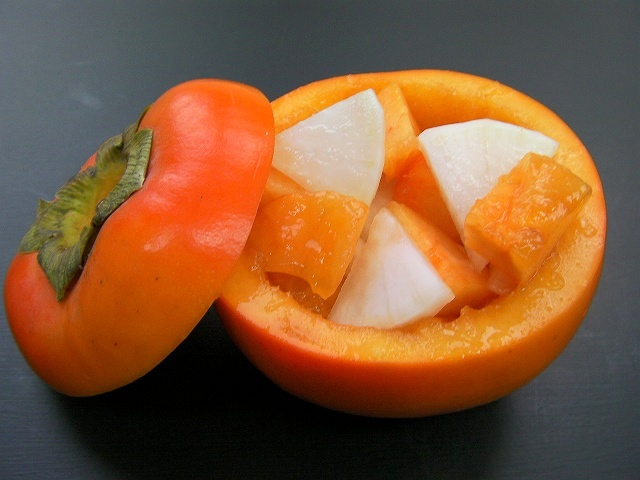Persimmon and Japanese radish in sweet and sour sauce -Japanese food- (10)