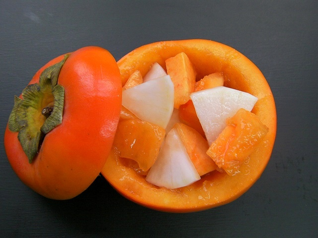 Persimmon and Japanese radish in sweet and sour sauce -Japanese food- (11)