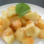 Persimmon and apple dressed in miso and mayonnaise recipe