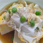 Egg drop with freeze dried tofu and green peas recipe